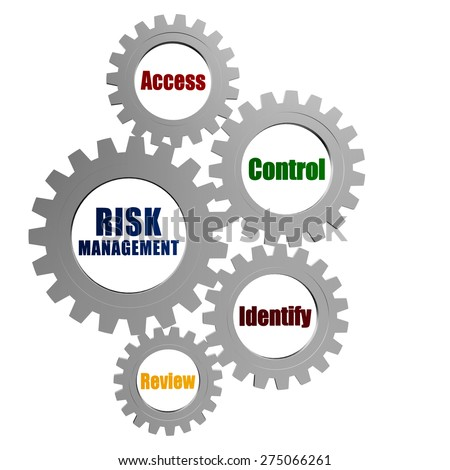 risk management and business concept words in silver grey gears Stock photo © marinini
