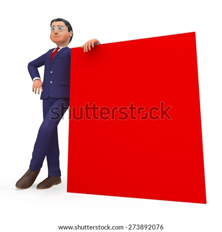 Businessman Beside Signboard Indicates Blank Space And Announcement Stock photo © stuartmiles