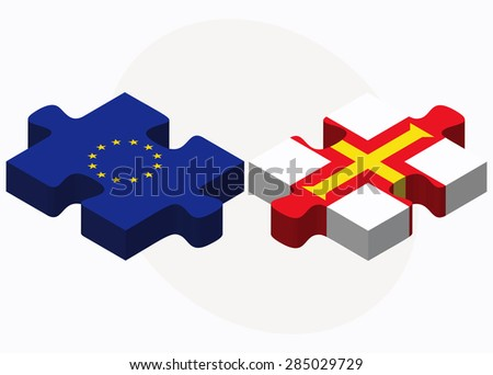 european union and guernsey flags in puzzle isolated on white ba stock photo © istanbul2009