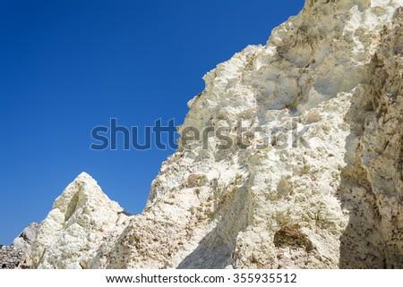 Stock fotó: Fehér · kő · tenger · sziget · Görögország · sziklaformáció