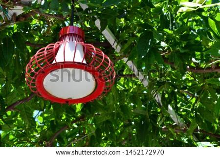 Сток-фото: Lamp On The Tree Summer Veranda Overgrown With Lanterns Leading To The Sea Lanterns Hanging From Tre