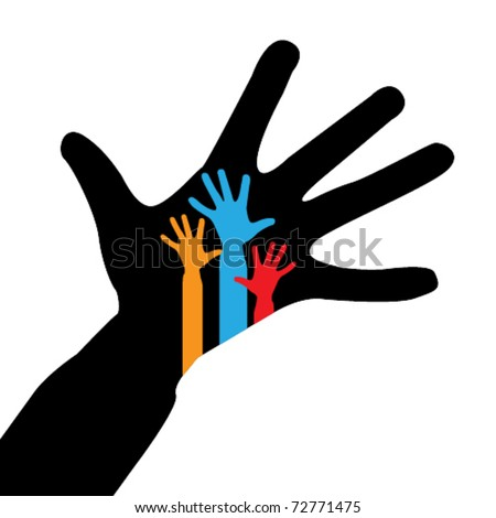 United hands of adults and child as symbol of family unity. Photo outdoors. Stock photo © Paha_L
