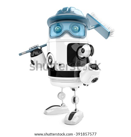 Robot worker with mop. Cleaning services. Isolated. Contains cli Stock photo © Kirill_M