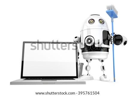 robô · monitor · isolado · branco · computador - foto stock © kirill_m
