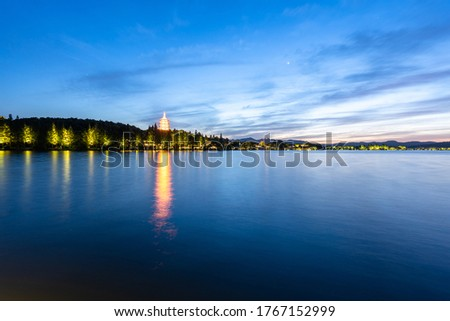 Old Chinese Leifeng Pagoda Boats West Lake Reflection Hangzhou Z Stock photo © billperry
