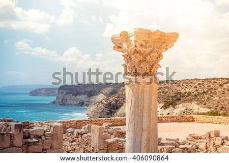 Ancient column at Kourion Archaeological Area. Limassol District Stock photo © Kirill_M