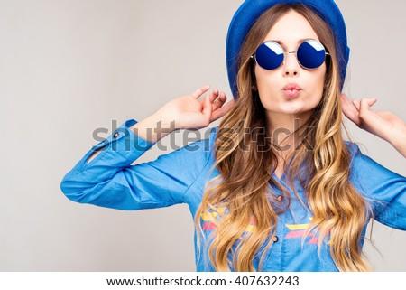Divatos trendi nő napszemüveg színes nyár Stock fotó © MarySan