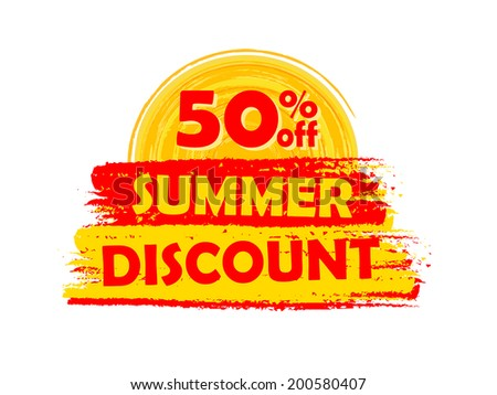Summer Sale And Offer With 50 Percentages Off And Sun And Starfi Stockfoto © marinini