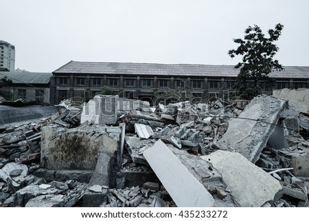 Pieces of Metal and Stone are Crumbling from Demolished Building Stock photo © AlisLuch