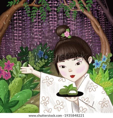 kokeshi doll and wisteria flowers Stock photo © adrenalina