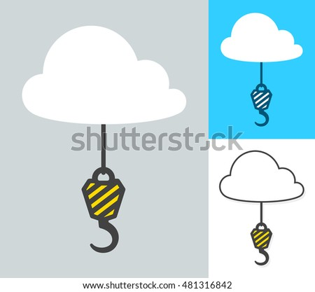 Collage of crane hooks attached to clouds Stock photo © adrian_n
