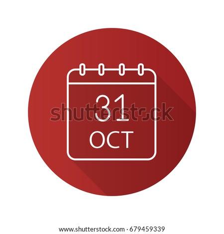 calendar with the date of october 31 halloween flat icons vector stock photo © konturvid