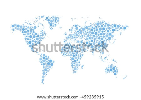 World Map made up from modern blue circles different sizes with bright glowing on white Stock photo © Evgeny89