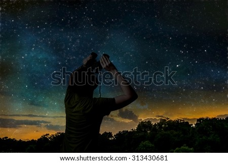 View from the binoculars on blue night sky with stars and constellations Stock photo © Evgeny89