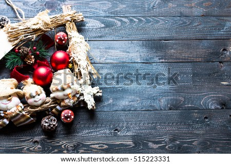 merry christmas frame with real wood green pine colorful baubles gift boxe and other seasonal stuf stock photo © davidarts