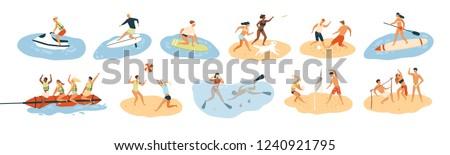 Młodych ludzi wraz morza wody rodziny ciało Zdjęcia stock © smuki