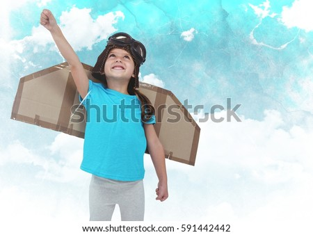 Composite image of girl with fake wings pretending to be pilot Stock photo © wavebreak_media