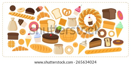 Bakery products icon set, flat style.  of different bread and pastry isolated on white background. F Stock photo © lucia_fox