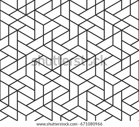 Vector Seamless Black and White Irregular Hexagonal Grid Pattern Stock photo © CreatorsClub