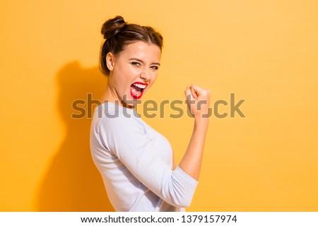 Beauté portrait fou jeune femme brillant lumineuses Photo stock © deandrobot