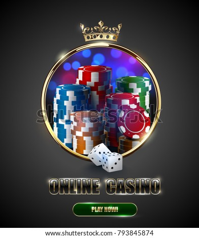 round casino golden frame with crown stack of poker chips ace cards and red dice on light effect stock photo © iaroslava