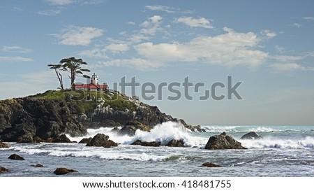 Semiluna oraş coastă acumulator punct far Imagine de stoc © cboswell