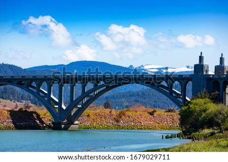 Rogue River Bridge Curry County Gold Beach Oregon Waterfront Ben Stock photo © cboswell