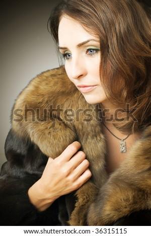 Mode vrouw pels dame portret geschenk Stockfoto © Victoria_Andreas