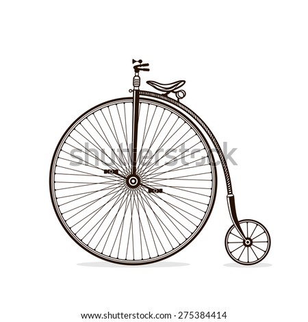 Retro old victorian bicycle silhouette isolated on white backgro Stock photo © NikoDzhi