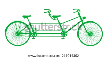 Retro green silhouette tandem bicycle isolated on a white backgr Stock photo © NikoDzhi