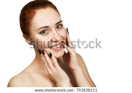 Business woman. Cute carroty young girl happy on the phone flat  Stock photo © NikoDzhi