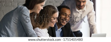 Smiling business woman with banner. Friendly young woman standin Stock photo © NikoDzhi