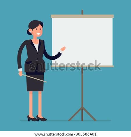 Business dame vrouw presenteren iets Stockfoto © NikoDzhi