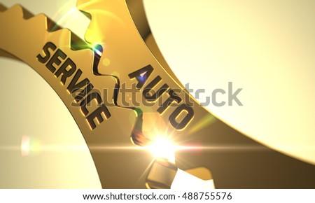 Arany fémes fogaskerekek garázs szolgáltatás 3d illusztráció Stock fotó © tashatuvango