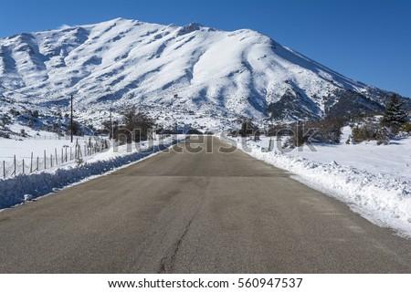 Road at Ziria mountain on a winter day, South Peloponnese, Greece stock photo © ankarb