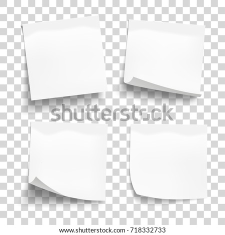 paper work notes isolated vector set sticky note paper for noticeboard with curled corners illustra stock photo © pikepicture
