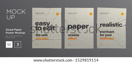 Stock photo: White Blank Paper Wall Poster Mock up Template Vector. Realistic Illustration. Picture Frame On Bric
