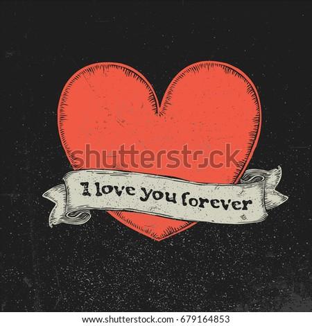 Amor para sempre texto vintage fita vermelho Foto stock © pashabo