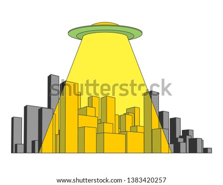City and UFO. Abstract Skyline  and Space Invader. Industrial la Stock photo © popaukropa