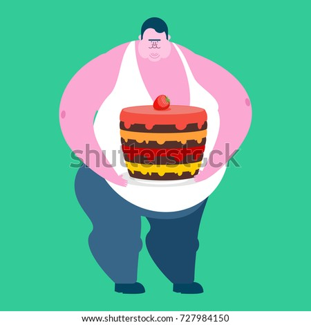 Fat guy and cake. Glutton Thick man and pie. fatso vector illust Stock photo © popaukropa