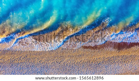 top view of a deserted beach the greek coast of the ionian sea stock photo © vlad_star