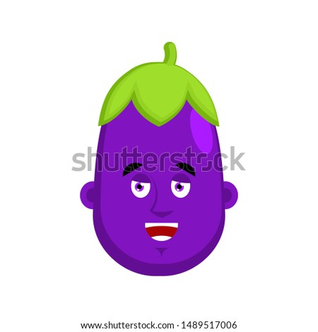 eggplant happy emotion avatar purple vegetable merry of emoji stock photo © popaukropa