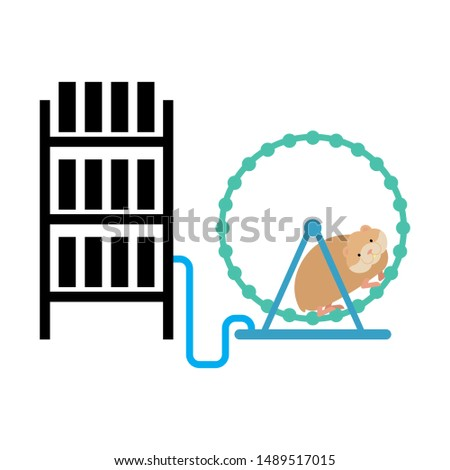 Mining farm and hamster in wheel produces electricity. Home Mini Stock photo © popaukropa