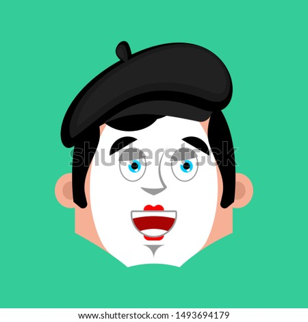 Mime happy emotion avatar. pantomime merry emoji. mimic face. Ve Stock photo © popaukropa