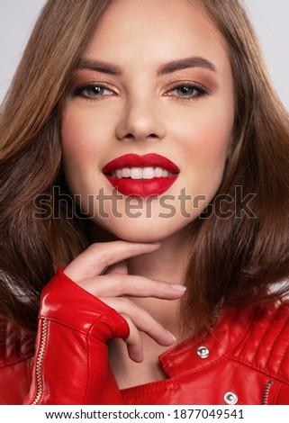 young pretty brunette woman fashion dressed, bright makeup, eleg Stock photo © iordani