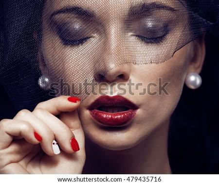 Szépség barna hajú nő fekete fátyol piros Stock fotó © iordani
