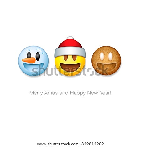 Snowman happy emotion avatar. Merry emoji face. New Year and Chr Stock photo © popaukropa