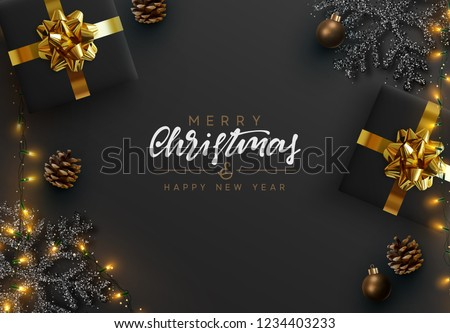 stylish christmas party flyer design template with light effect Stock photo © SArts