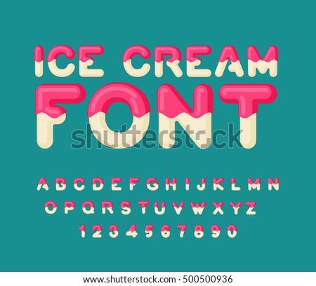 Ice cream font. sweetness alphabet. Liquid lettering. Sweet visc Stock photo © MaryValery