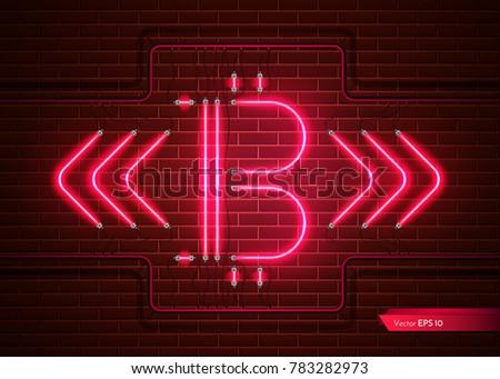 цифровой вектора bitcoin неоновых свет подробный Сток-фото © frimufilms